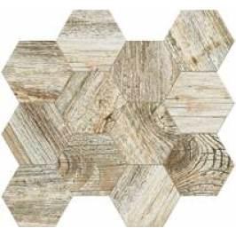 Mozaika Fineza Timber Design moonlight hexagon 31,5x36,5 cm, mat, rektifikovaná TIMDEMOSESML