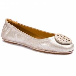 Baleríny TORY BURCH - Minnie Travel Ballet With Logo 53289 Metallic Perfect Sand 262